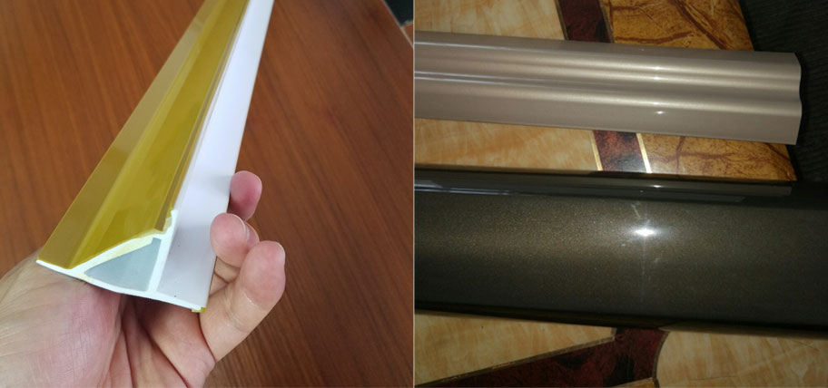 Plastic profile extrusion for imitation metal texture