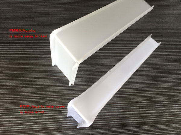 Difference between lighting PC cover and PMMA cover
